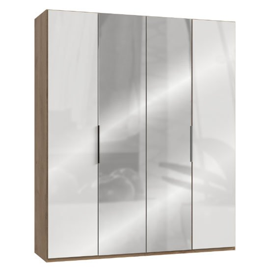 Lloyd Tall Mirror Wardrobe In Gloss White And Planked Oak 4 Door