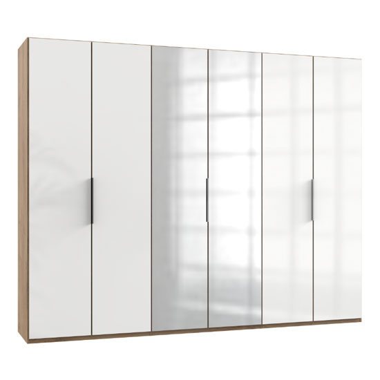 Lloyd Tall Mirror Wardrobe In Gloss White And Planked Oak 6 Door_1