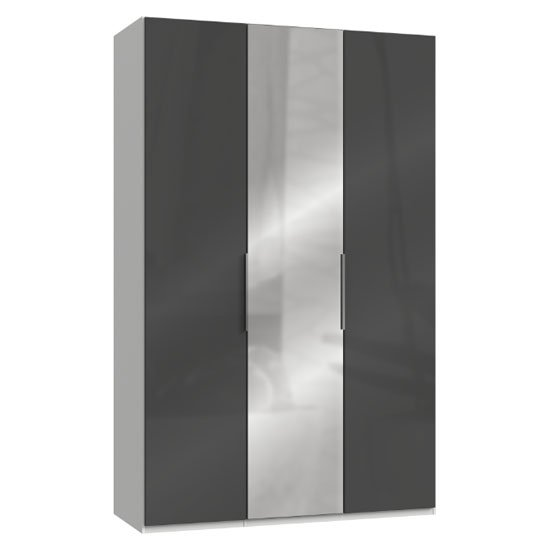 Lloyd Tall Mirrored Wardrobe In Gloss Grey And White 3 Doors