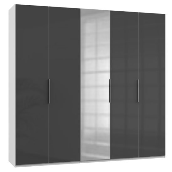 Lloyd Tall Mirrored Wardrobe In Gloss Grey And White 5 Doors