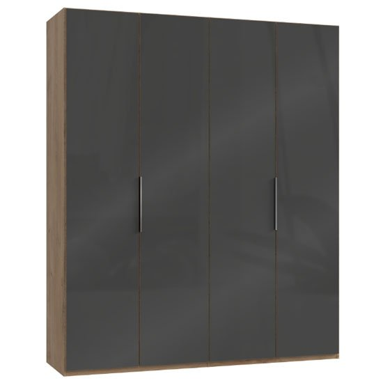 Lloyd Tall Wardrobe In Gloss Grey And Planked Oak 4 Doors