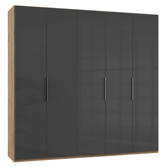 Lloyd Tall Wardrobe In Gloss Grey And Planked Oak 5 Doors