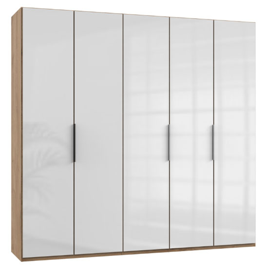 Lloyd Tall Wardrobe In Gloss White And Planked Oak 5 Doors