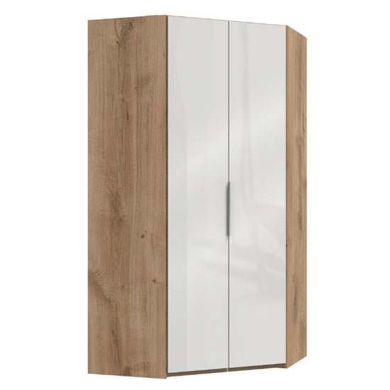 Lloyd Tall Wooden Corner Wardrobe In Gloss White And Planked Oak