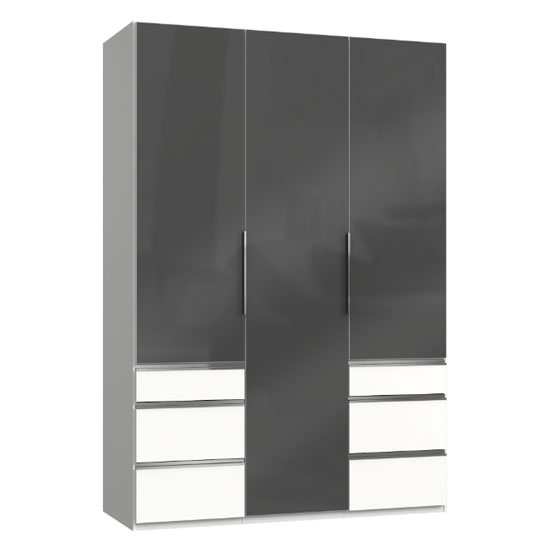 Lloyd Wooden 3 Doors Wardrobe In Gloss Grey And White