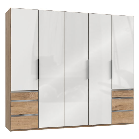 Lloyd Wooden 5 Doors Wardrobe In Gloss White And Planked Oak_1