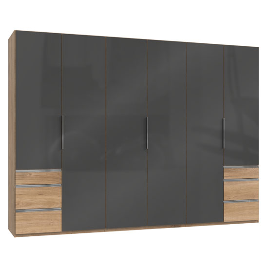 Lloyd Wooden 6 Doors Wardrobe In Gloss Grey And Planked Oak_1