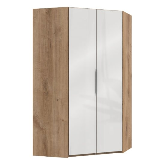 Lloyd Wooden Corner Wardrobe In Gloss White And Planked Oak