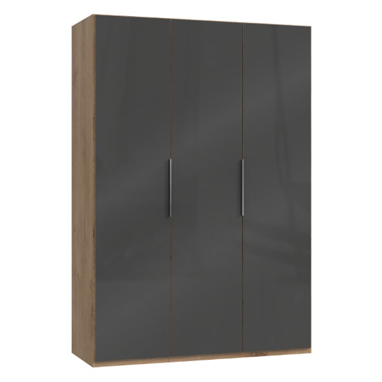 Lloyd Wooden Wardrobe In Gloss Grey And Planked Oak 3 Doors