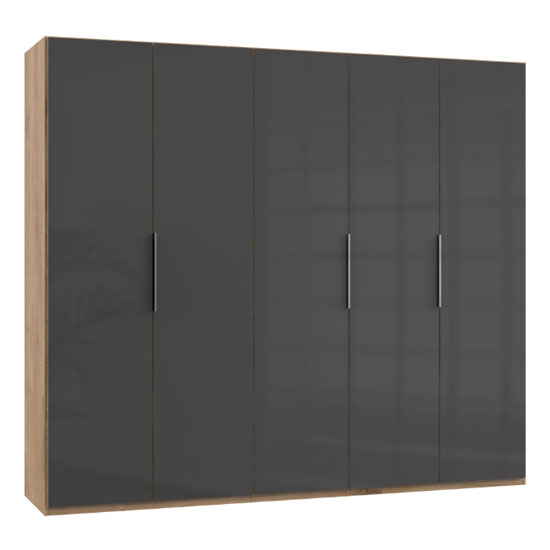 Lloyd Wooden Wardrobe In Gloss Grey And Planked Oak 5 Doors