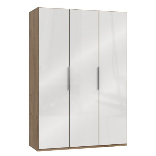 Lloyd Wooden Wardrobe In Gloss White And Planked Oak 3 Doors