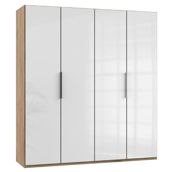 Lloyd Wooden Wardrobe In Gloss White And Planked Oak 4 Doors