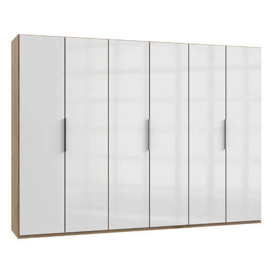 Lloyd Wooden Wardrobe In Gloss White And Planked Oak 6 Doors_1