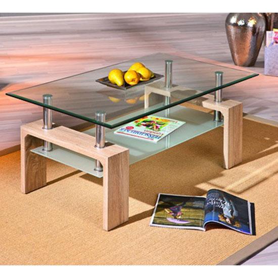 Loana Glass Coffee Table With Undershelf And Oak Legs