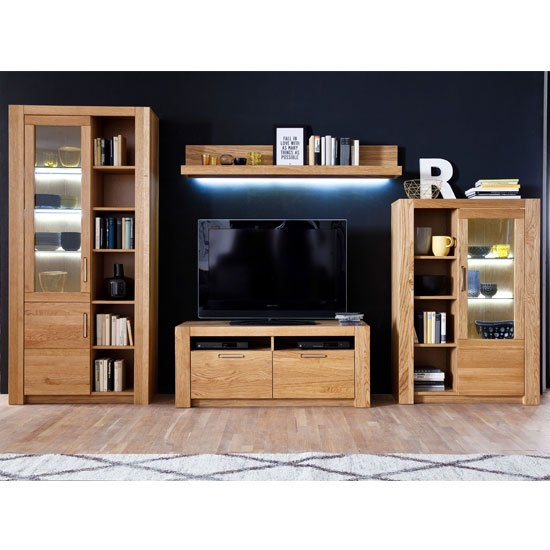 Loano LED Living Room Set In Wild Oak With Large Display Cabinet
