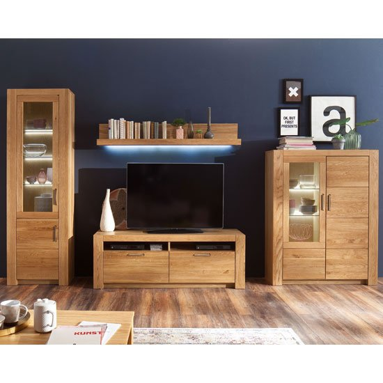 View Loano led living room set in wild oak with large tv unit