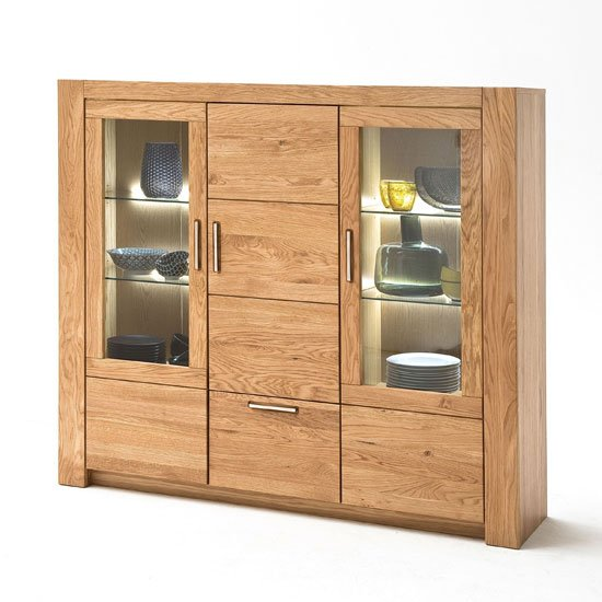Loano LED Wooden 3 Doors Highboard In Wild Oak With 1 Drawer