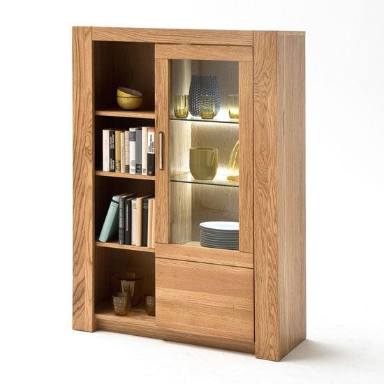 Loano LED Wooden Highboard In Wild Oak With 1 Door