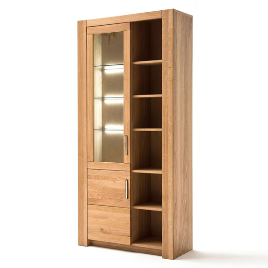 Loano LED Wooden Large Display Cabinet In Wild Oak With 2 Doors