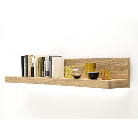 Loano LED Wooden Wall Shelf In Wild Oak