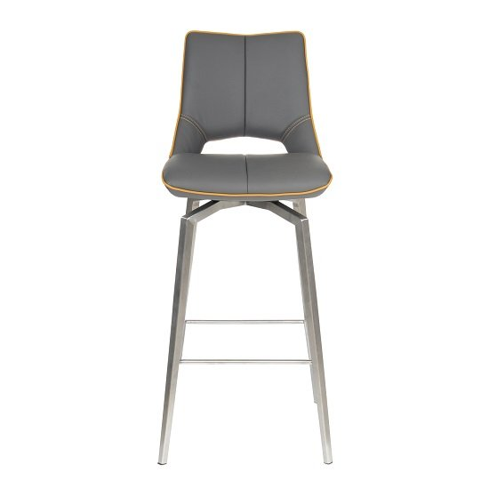 Loft Bar Chair In Graphite Grey And Brushed Stainless Steel Legs