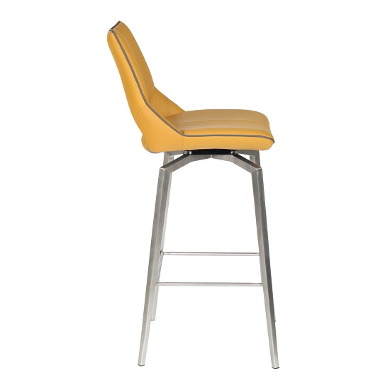 Loft Bar Chair In Medallion Yellow Brushed Stainless Steel Legs_2