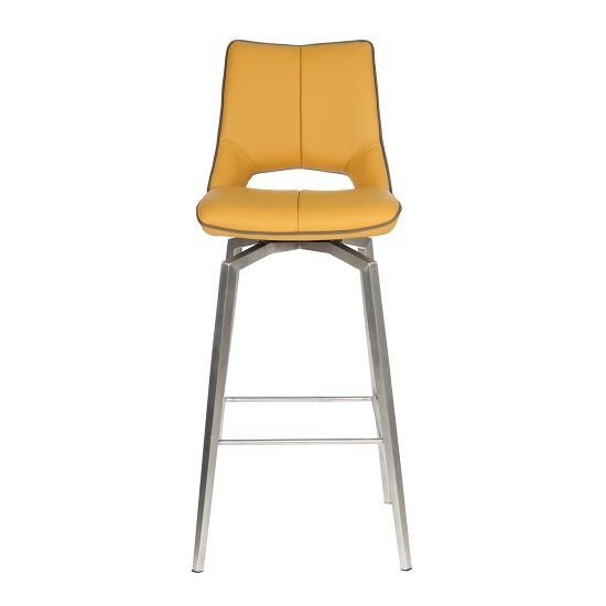 Loft Bar Chair In Medallion Yellow Brushed Stainless Steel Legs