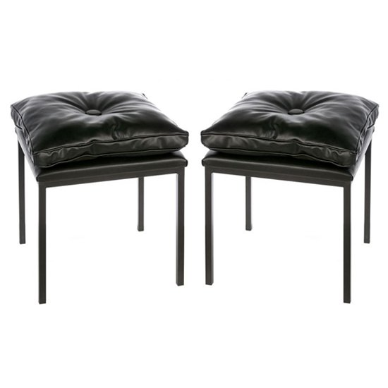 Loft Black Leather Stools In A Pair With Metal Legs