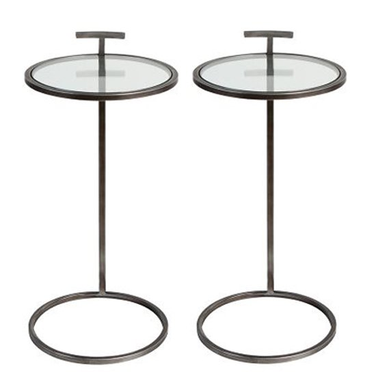 Loft Clear Glass Top Set Of 2 Side Tables With Metal Frame
