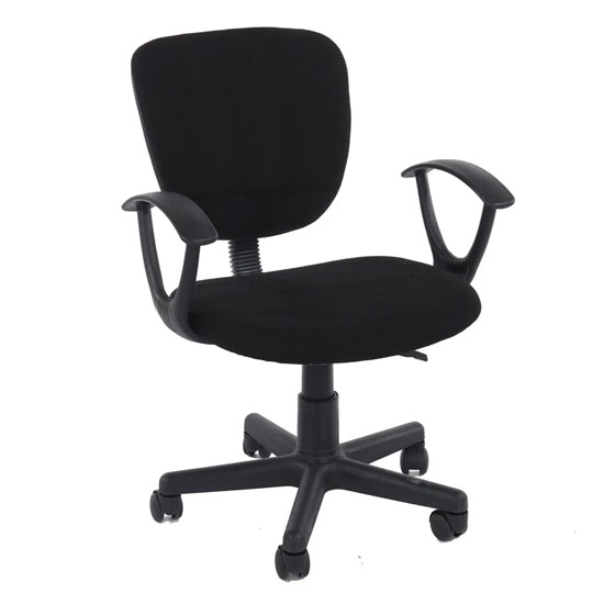 Loft Fabric Study Chair In Black With Black Base