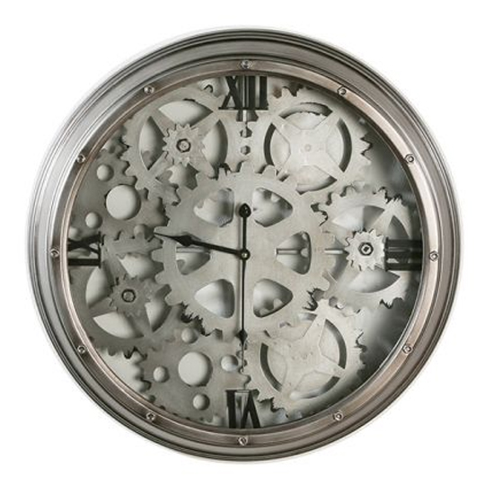 Loft Glass Wall Clock With Anthracite And Silver Metal Frame