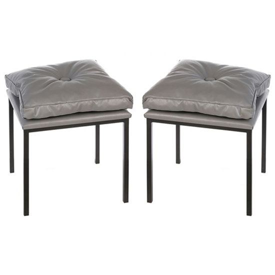 Loft Grey Leather Stools In A Pair With Black Metal Legs