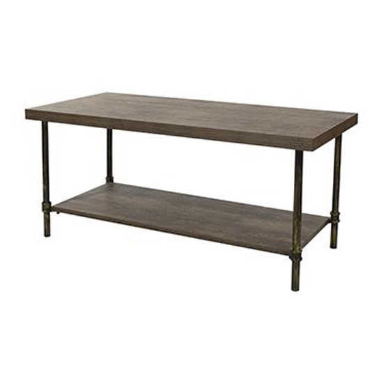 Loft Home Coffee Table In Dark Oak With Pipe Design Legs