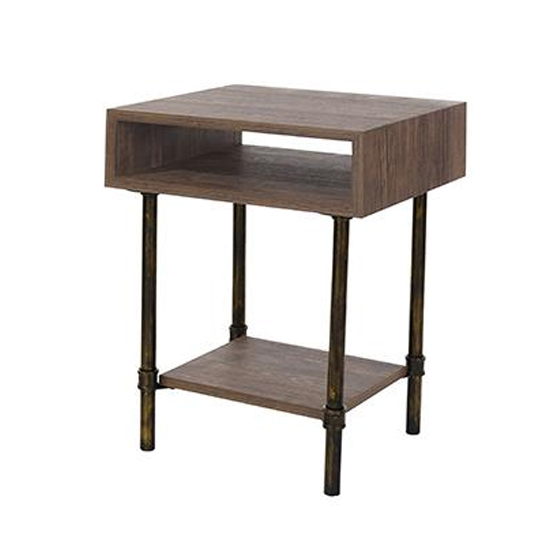 Loft Home Side Table In Dark Oak With Pipe Design Legs