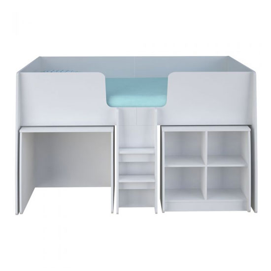 Loft Station Kids Single Bed In White With Desk And Bookcase_2