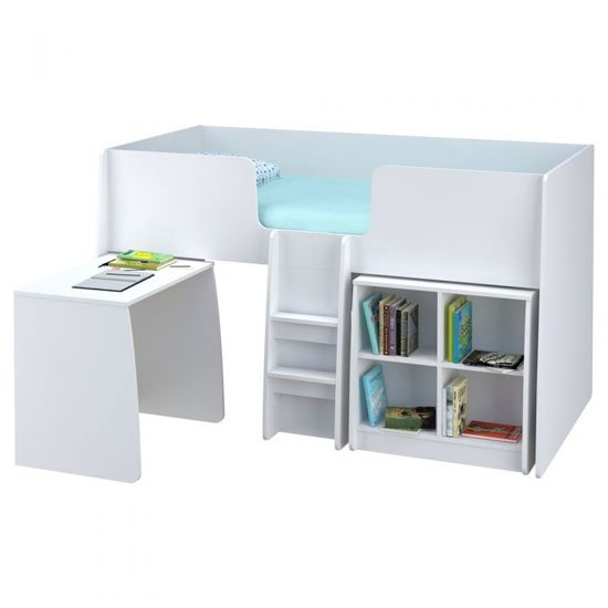 Loft Station Kids Single Bed In White With Desk And Bookcase_1