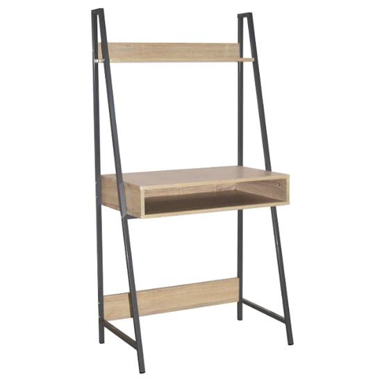 View Loft wooden ladder bookcase desk in oak and grey metal frame