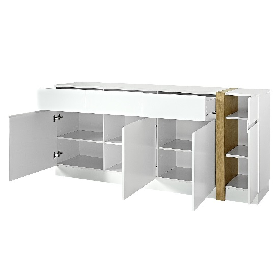 Loft sideboard in white super matt with 4 doors and 3 drawers for Sideboard loft