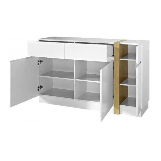 Loft sideboard in white super matt with 3 doors and 2 drawers for Sideboard loft