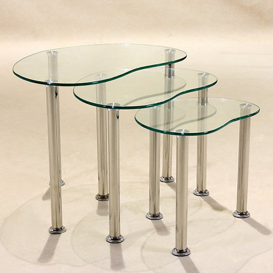 Product photograph showing Logan Clear Glass Nest Of Tables With Stainless Steel Legs