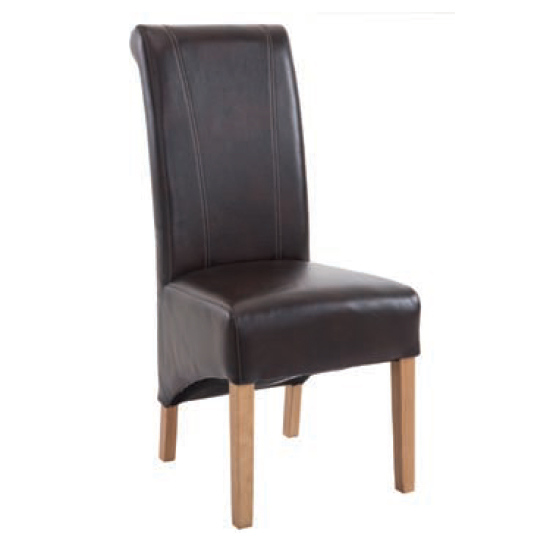 Logan Leather Dining Chair In Two Tone Brown