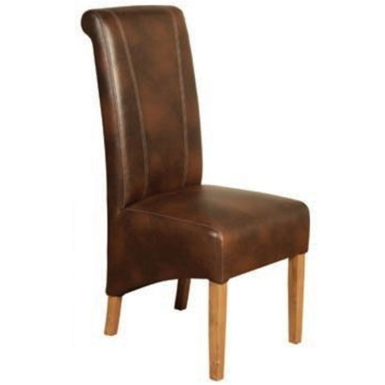 Logan Leather Dining Chair In Two Tone Tan