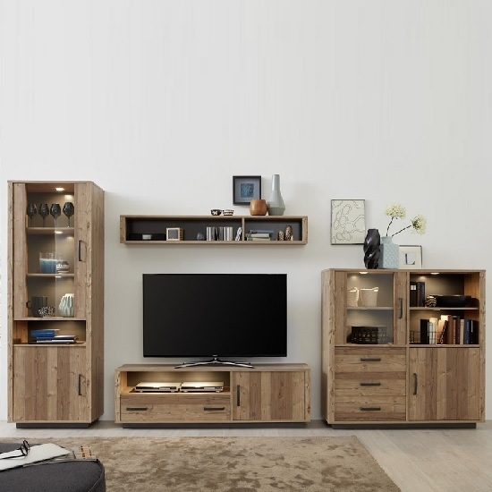 Logan Living Room Set 4 In Bramberg Spruce With LED Lighting