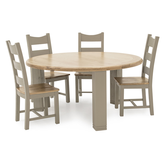 Logan Round Wooden Dining Table In Taupe With 4 Chairs