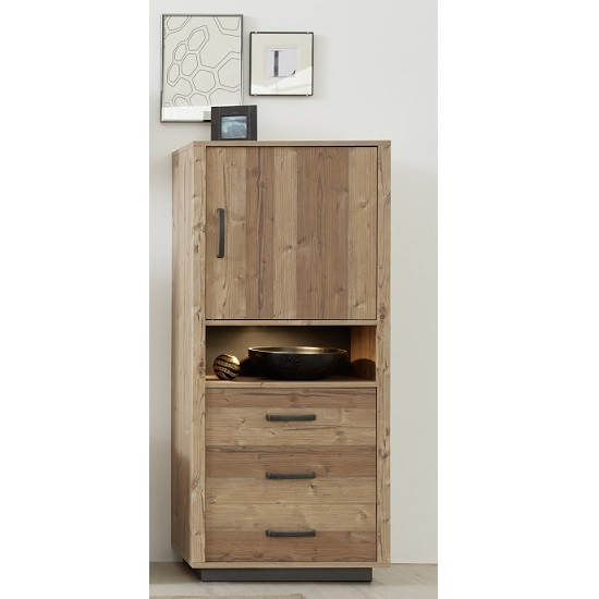 Logan Wooden Storage Cabinet In Bramberg Spruce With LED