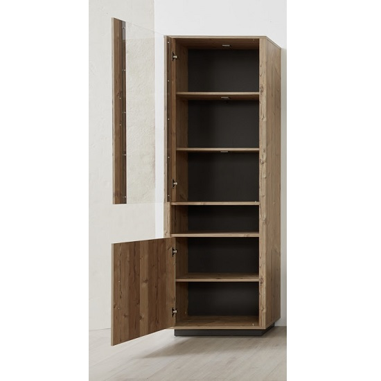 Logan Tall Display Cabinet In Bramberg Spruce With LED Lighting_2