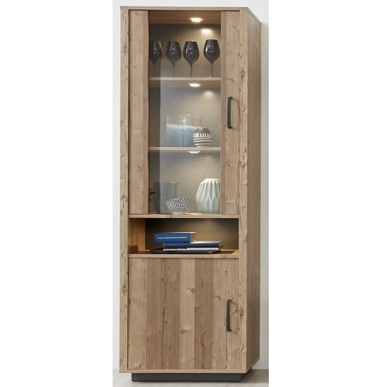 Logan Tall Display Cabinet In Bramberg Spruce With LED Lighting