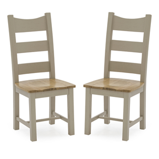Logan Taupe Wooden Dining Chairs With Solid Seat In Pair