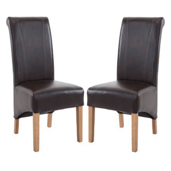 Logan Two Tone Brown Leather Dining Chair In Pair