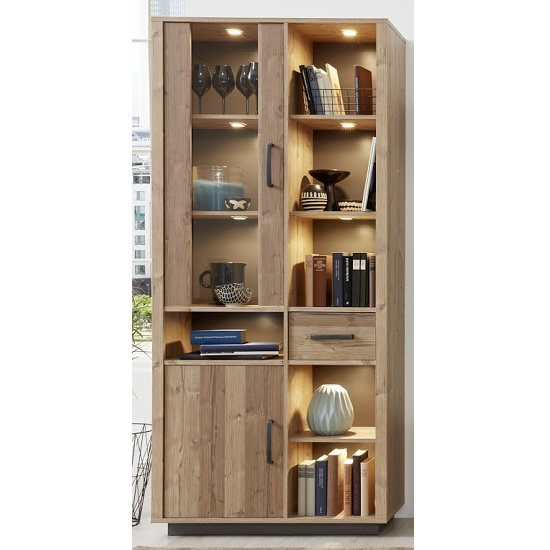 Logan Wide Display Cabinet In Bramberg Spruce With LED Lighting